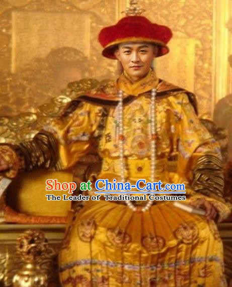 Traditional Chinese Ancient Qing Dynasty Guangxu Emperor Costume Embroidered Imperial Robe for Men