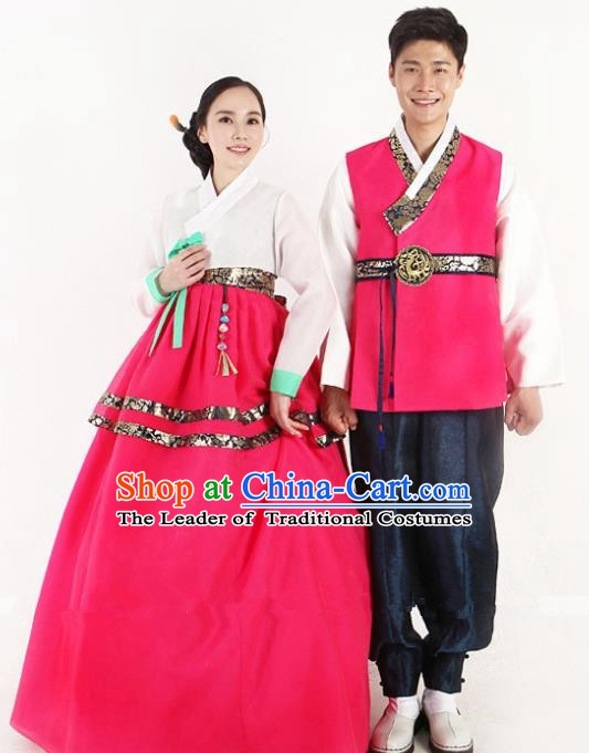 Asian Korean Traditional Wedding Rosy Costumes Palace Hanbok Ancient Korean Bride and Bridegroom Costumes Complete Set