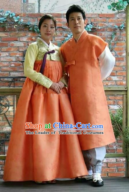Asian Korean Traditional Wedding Orange Costumes Palace Hanbok Ancient Korean Bride and Bridegroom Costumes Complete Set