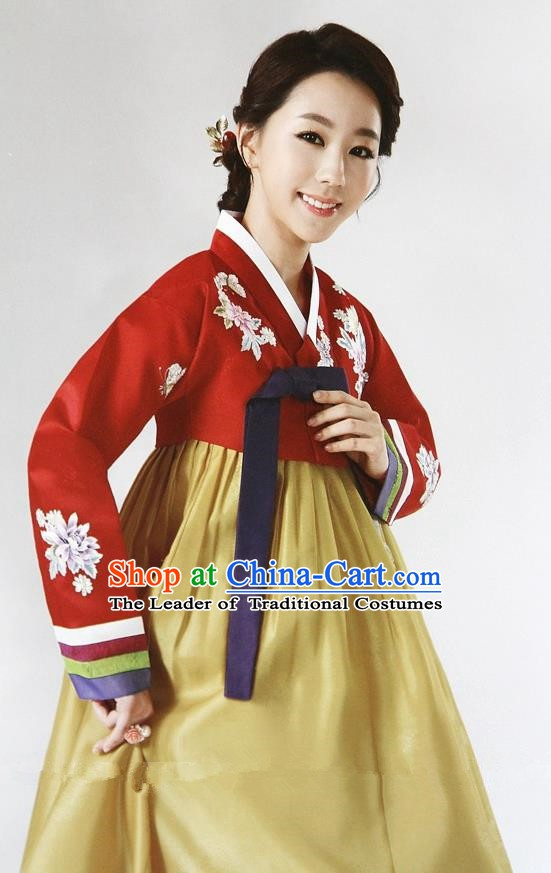 Top Grade Korean Hanbok Ancient Traditional Fashion Apparel Costumes Red Blouse and Yellow Dress for Women