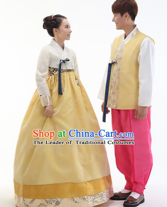 Asian Korean Traditional Costumes Ancient Korean Hanbok Bride and Bridegroom Costumes Complete Set