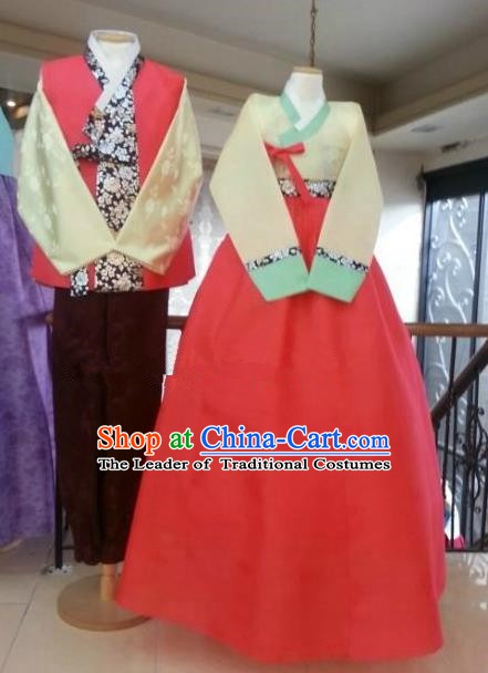 Asian Korean Traditional Costumes Ancient Korean Wedding Hanbok Bride and Bridegroom Costumes Complete Set