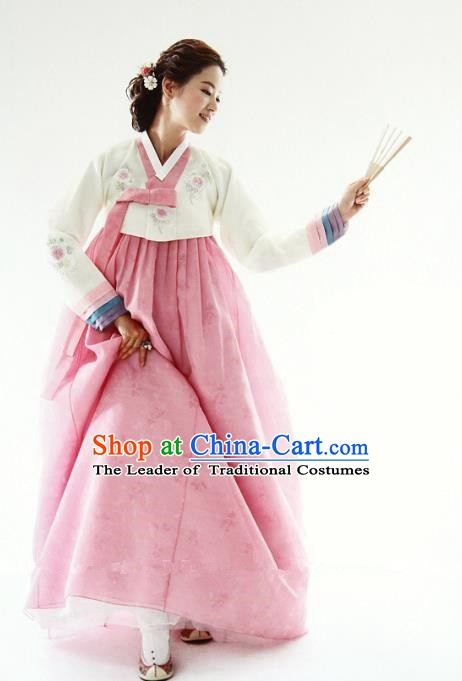 Korean Traditional Hanbok White Blouse and Pink Dress Ancient Fashion Apparel Costumes for Women