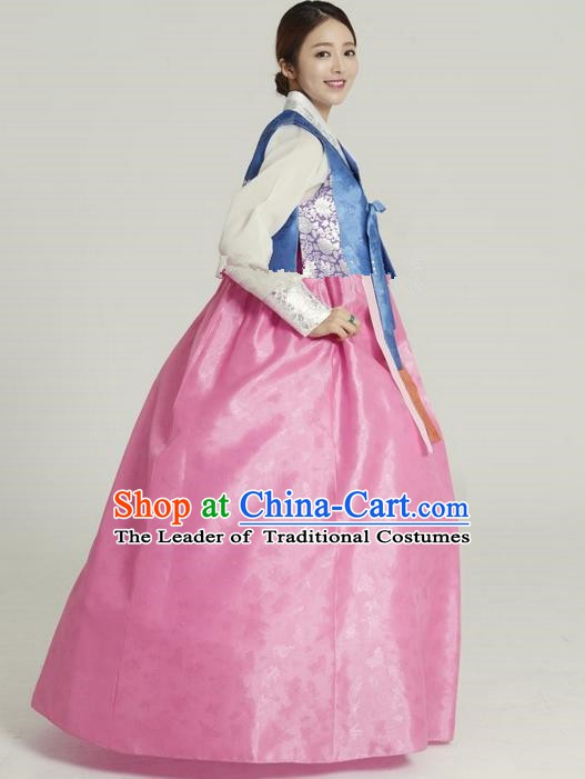 Korean Traditional Hanbok Blue Blouse and Pink Dress Ancient Formal Occasions Fashion Apparel Costumes for Women