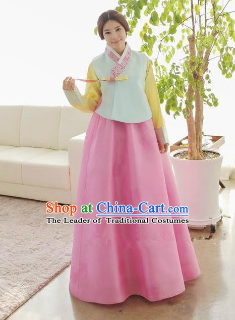 Korean Traditional Hanbok Green Blouse and Pink Dress Ancient Formal Occasions Fashion Apparel Costumes for Women