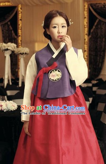 Korean Traditional Hanbok Purple Blouse and Red Dress Ancient Formal Occasions Fashion Apparel Costumes for Women