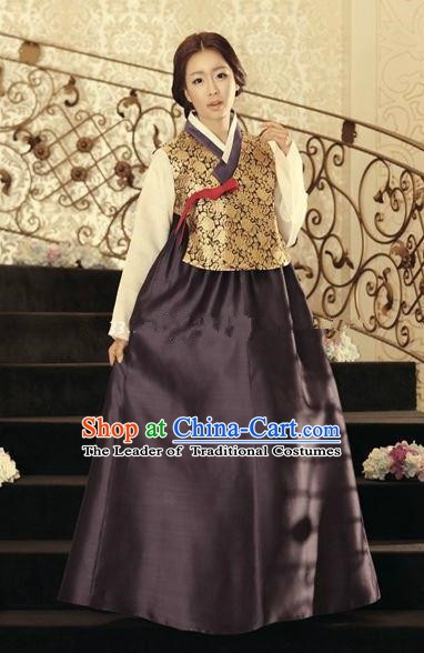 Korean Traditional Hanbok Blouse and Deep Purple Dress Ancient Formal Occasions Fashion Apparel Costumes for Women
