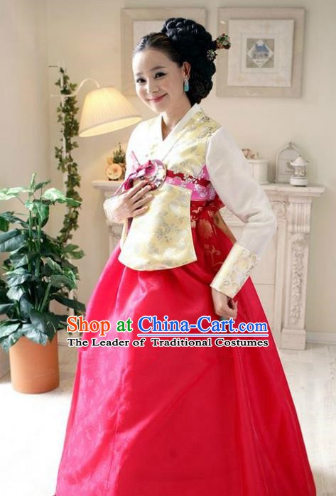 Korean Traditional Hanbok Yellow Blouse and Rosy Dress Ancient Formal Occasions Fashion Apparel Costumes for Women