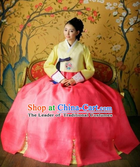 Korean Traditional Hanbok Bride Yellow Blouse and Red Dress Ancient Formal Occasions Fashion Apparel Costumes for Women