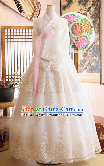 Korean Traditional Hanbok Bride White Blouse and Dress Ancient Formal Occasions Fashion Apparel Costumes for Women