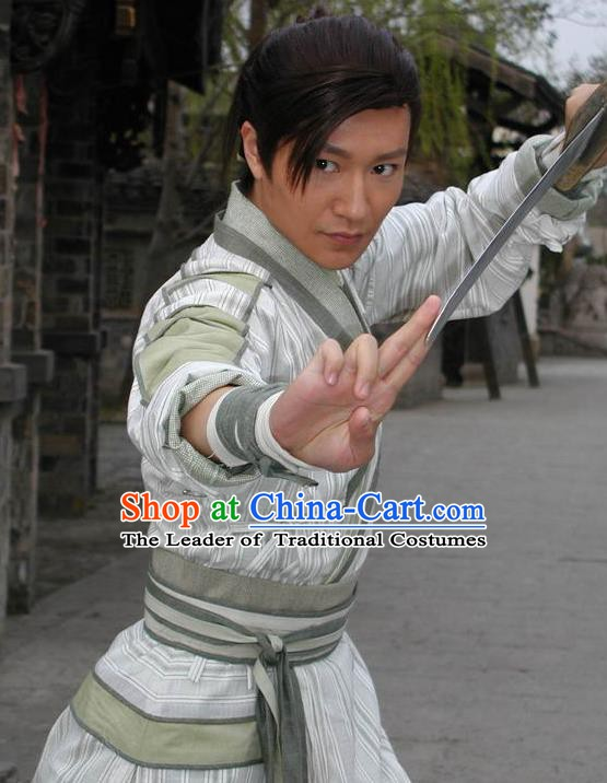 Chinese Ancient Ming Dynasty Swordsman Zhan Zhao Replica Costume for Men