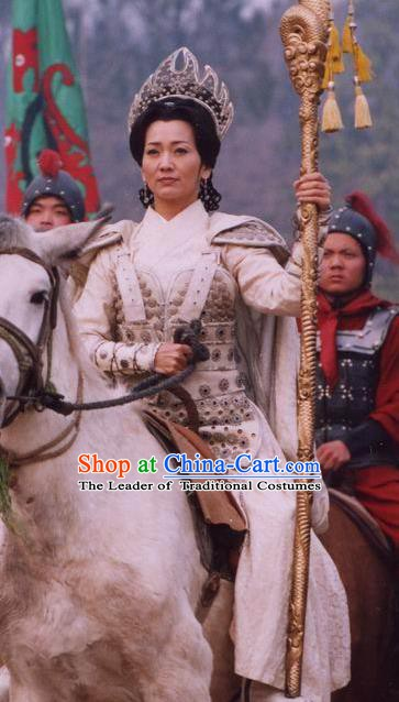 Chinese Ancient Song Dynasty Female General She Saihua Replica Costume Helmet and Armour for Women