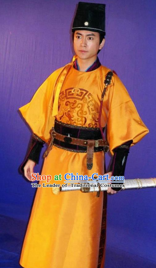 Chinese Ancient Song Dynasty Swordsman Imperial Bodyguard Zhan Zhao Replica Costume for Men