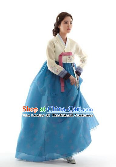 Korean Traditional Bride Hanbok Beige Blouse and Blue Embroidered Dress Ancient Formal Occasions Fashion Apparel Costumes for Women