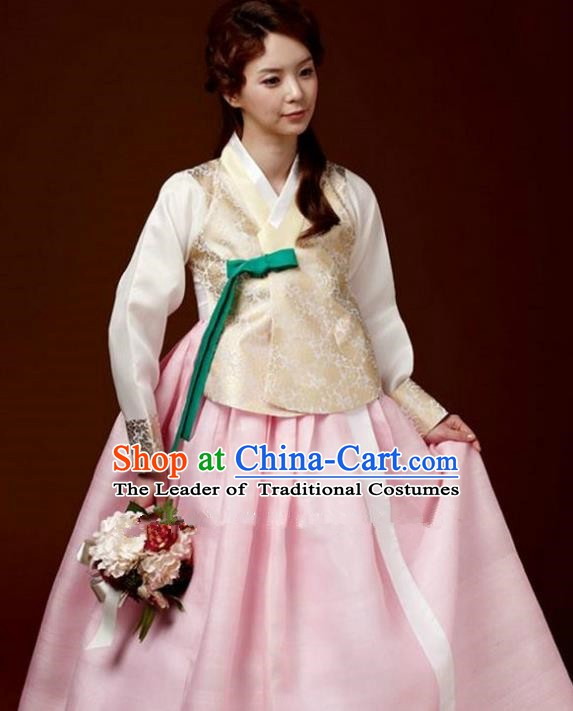 Korean Traditional Bride Hanbok Golden Blouse and Pink Embroidered Dress Ancient Formal Occasions Fashion Apparel Costumes for Women