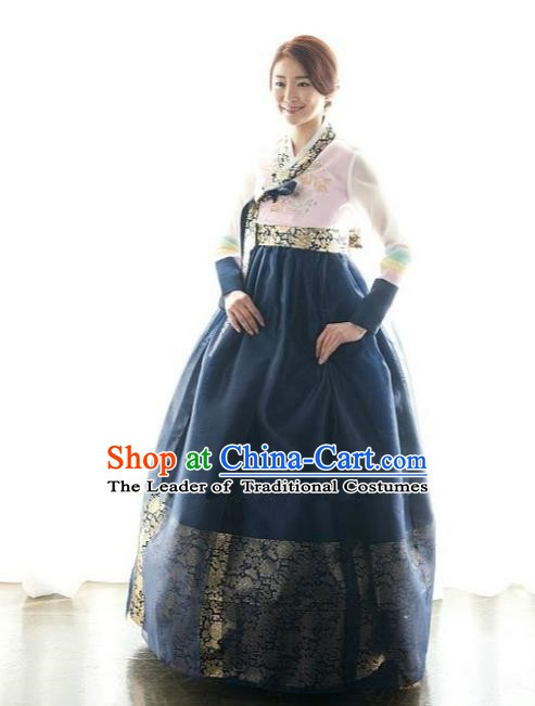 Korean Traditional Bride Hanbok Pink Blouse and Navy Embroidered Dress Ancient Formal Occasions Fashion Apparel Costumes for Women