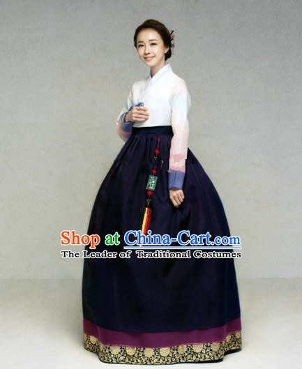 Korean Traditional Bride Hanbok White Blouse and Deep Purple Embroidered Dress Ancient Formal Occasions Fashion Apparel Costumes for Women