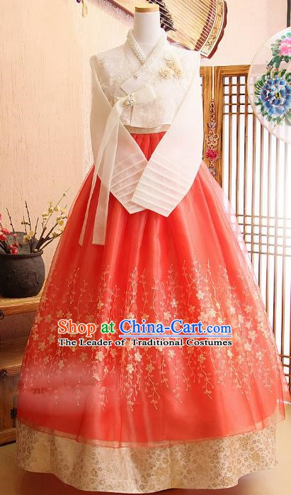 Korean Traditional Bride Hanbok White Lace Blouse and Red Embroidered Dress Ancient Formal Occasions Fashion Apparel Costumes for Women