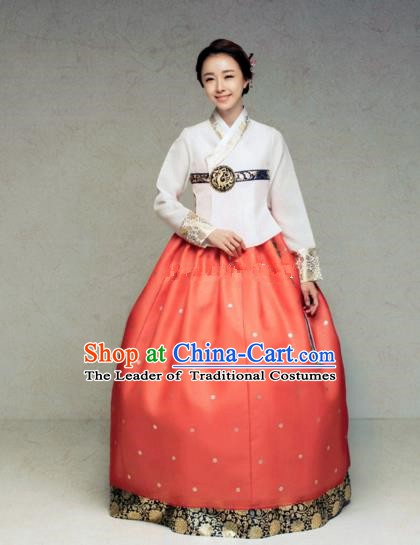 Korean Traditional Bride Hanbok White Blouse and Red Embroidered Dress Ancient Formal Occasions Fashion Apparel Costumes for Women