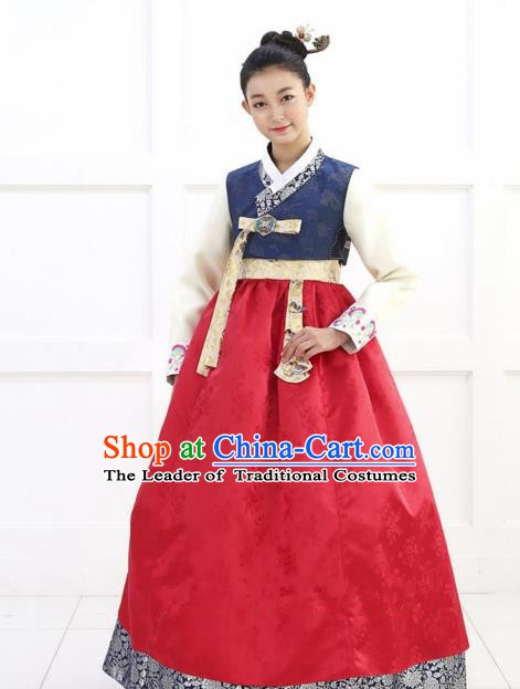 Korean Traditional Bride Hanbok Blue Blouse and Green Embroidered Dress Ancient Formal Occasions Fashion Apparel Costumes for Women