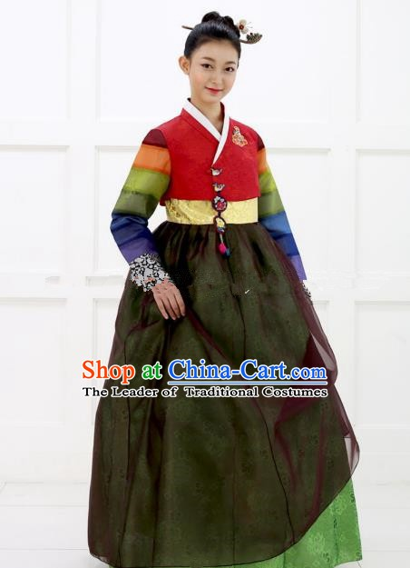 Korean Traditional Bride Hanbok Red Blouse and Green Embroidered Dress Ancient Formal Occasions Fashion Apparel Costumes for Women