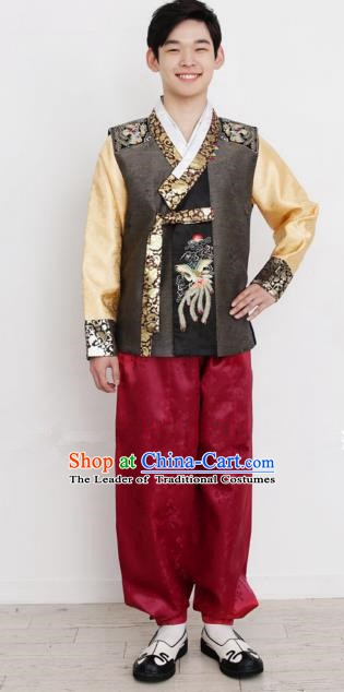 Traditional Korean Costumes Ancient Korean Bridegroom Hanbok Brown Vest and Red Pants for Men