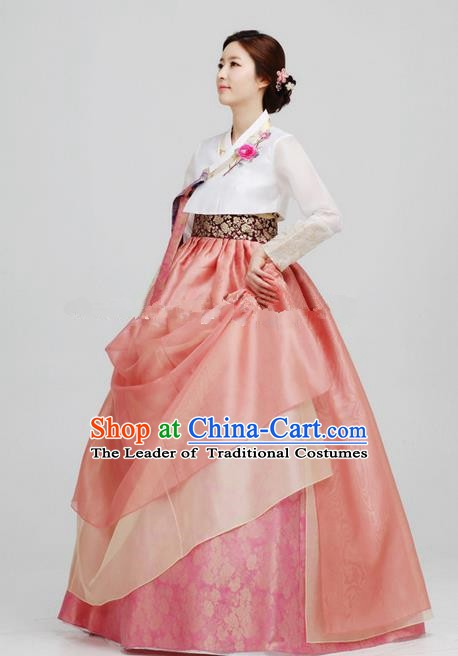 Korean Traditional Bride Hanbok White Blouse and Pink Dress Ancient Formal Occasions Fashion Apparel Costumes for Women