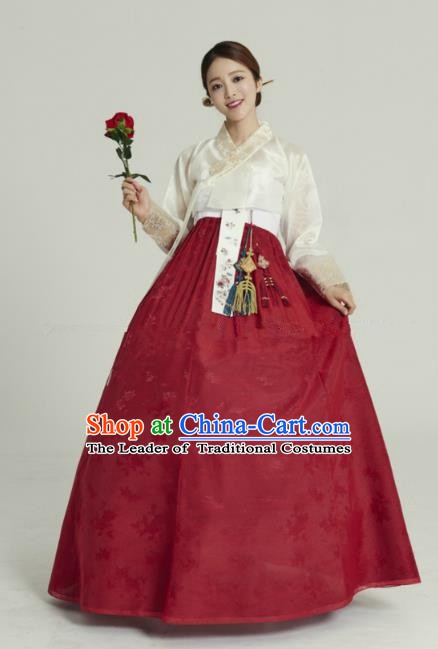 Korean Traditional Bride Hanbok White Blouse and Wine Red Embroidered Dress Ancient Formal Occasions Fashion Apparel Costumes for Women