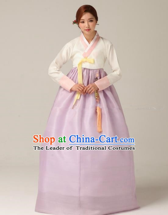 Korean Traditional Bride Hanbok White Blouse and Lilac Embroidered Dress Ancient Formal Occasions Fashion Apparel Costumes for Women