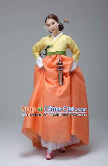 Korean Traditional Bride Hanbok Yellow Blouse and Orange Dress Ancient Formal Occasions Fashion Apparel Costumes for Women