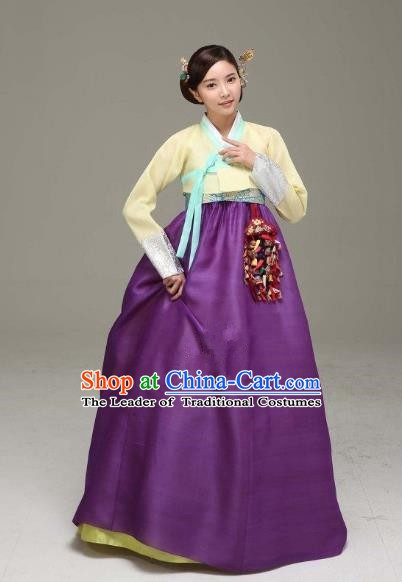 Korean Traditional Bride Hanbok Formal Occasions Yellow Blouse and Purple Dress Ancient Fashion Apparel Costumes for Women