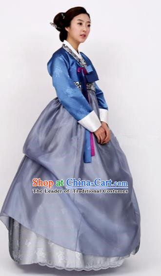 Korean Traditional Bride Tang Garment Hanbok Formal Occasions Royalblue Blouse and Blue Dress Ancient Costumes for Women