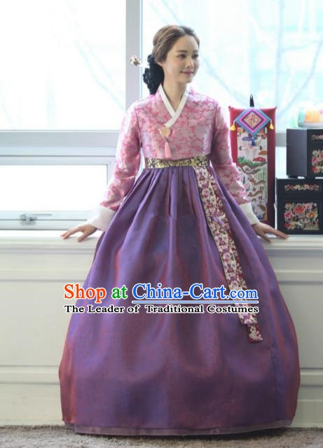 Korean Traditional Bride Tang Garment Hanbok Formal Occasions Pink Blouse and Purple Dress Ancient Costumes for Women