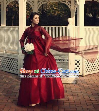 Korean Traditional Bride Tang Garment Hanbok Formal Occasions Red Blouse and Dress Ancient Costumes for Women