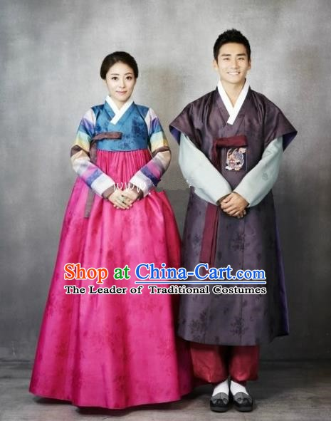 Korean Traditional Wedding Costumes Ancient Palace Bride and Bridegroom Hanbok Complete Set