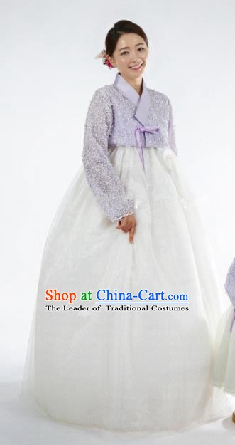 Korean Traditional Bride Tang Garment Hanbok Formal Occasions Lilac Blouse and White Dress Ancient Costumes for Women