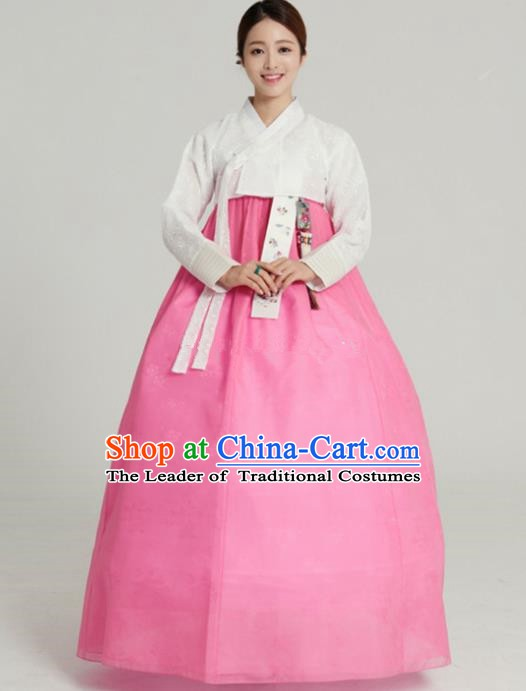 Korean Traditional Bride Tang Garment Hanbok Formal Occasions White Blouse and Pink Dress Ancient Costumes for Women