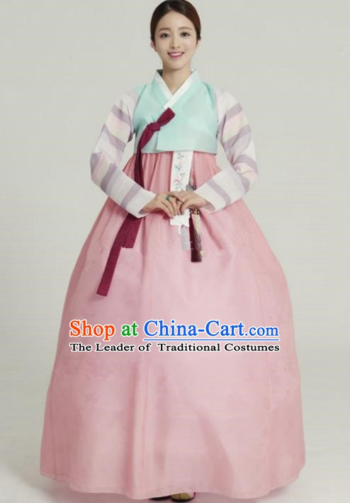 Korean Traditional Bride Tang Garment Hanbok Formal Occasions Green Blouse and Pink Dress Ancient Costumes for Women
