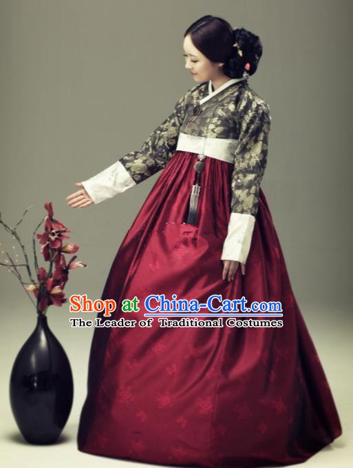 Korean Traditional Bride Tang Garment Hanbok Formal Occasions Brown Blouse and Wine Red Dress Ancient Costumes for Women