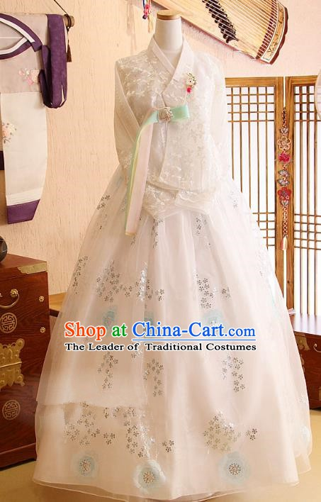 Korean Traditional Bride Tang Garment Hanbok Formal Occasions White Blouse and Dress Ancient Costumes for Women
