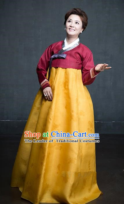Korean Traditional Tang Garment Hanbok Formal Occasions Wine Red Blouse and Yellow Dress Ancient Costumes for Women