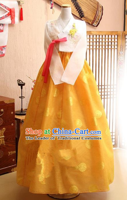 Korean Traditional Tang Garment Hanbok Formal Occasions White Blouse and Yellow Dress Ancient Costumes for Women