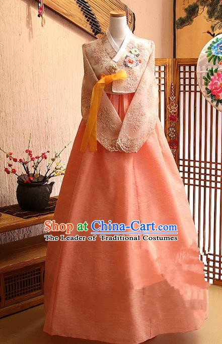 Korean Traditional Tang Garment Hanbok Formal Occasions Lace Blouse and Pink Dress Ancient Costumes for Women