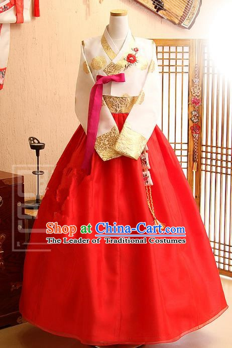 Korean Traditional Bride Tang Garment Hanbok Formal Occasions White Blouse and Red Dress Ancient Costumes for Women
