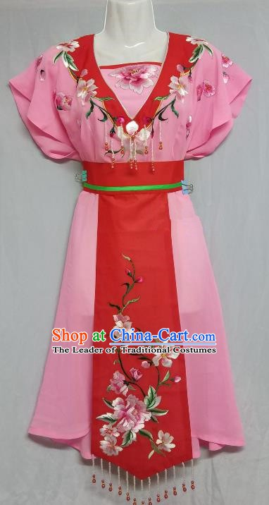 China Traditional Beijing Opera Maidservants Costume Chinese Peking Opera Maid Pink Dress
