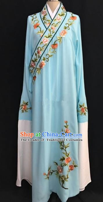 China Traditional Beijing Opera Niche Embroidered Peony Blue Robe Chinese Peking Opera Gifted Scholar Costume