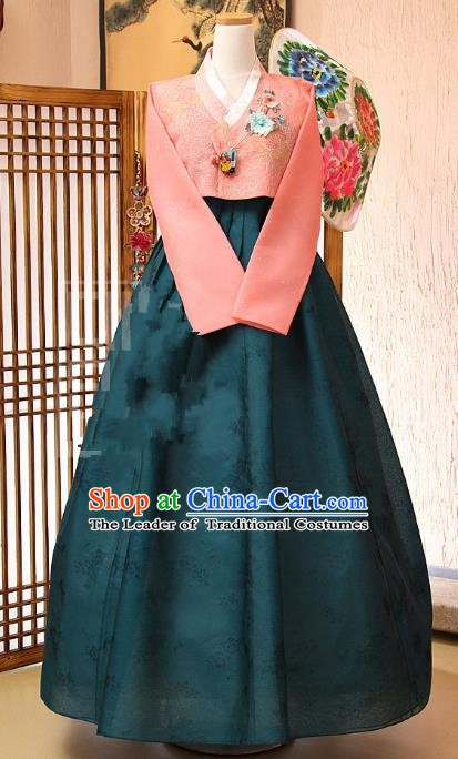 Korean Traditional Bride Tang Garment Hanbok Formal Occasions Pink Blouse and Atrovirens Dress Ancient Costumes for Women