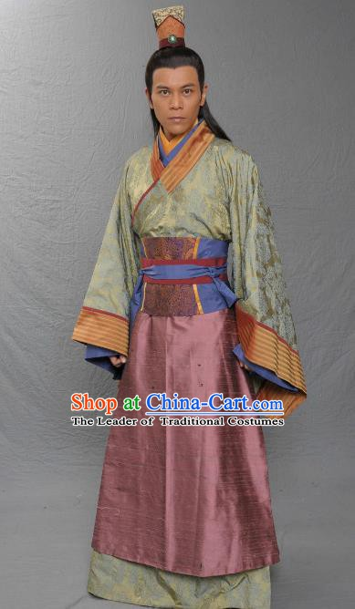 Chinese Song Dynasty Minister Dong Mingxuan Clothing Ancient Chancellor Replica Costume for Men