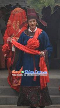 Chinese Song Dynasty Politician Sun Shi Clothing Ancient Litterateur Su Tungpo Replica Costume for Men