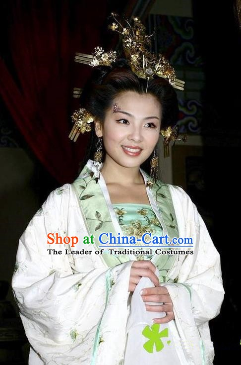 Chinese Ancient Empress of Li Yu Zhou E-Huang Embroidered Replica Costume for Women